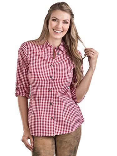 Schöneberger Trachten Couture Trachtenbluse Bergstern - Elegantes, Kariertes Damen Trachtenhemd - tailliert mit Krempelärmel div. Farben (34, Rot/Weiss)