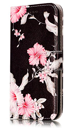 S6 Phone Case Wallet, Galaxy S6 Case, JanCalm Flower Pattern Premium PU Leather Wallet [Card/Cash Slots] Stand Magnetic Flip Folio Cover for Samsung Galaxy S 6 + Crystal Pen (Black/Flower)