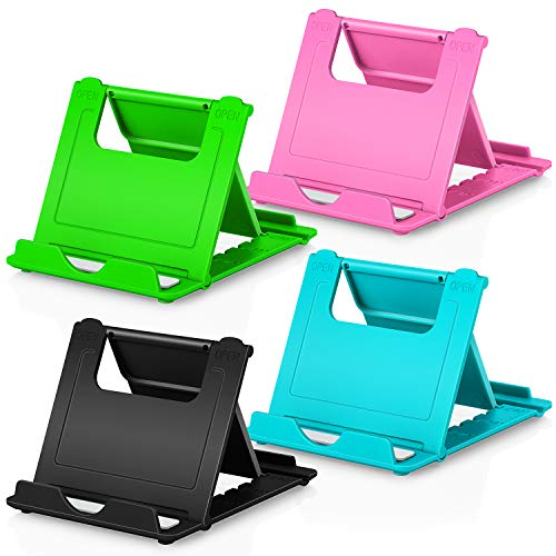 Phone Stand, 4pack Cellphone Holder (4-7.9')stands Foldable Multi-angle for desk lightweight Desktop Dock Cradle Compatible for iPhone Xs Max XR 8 Plus 6 7 6S X 5 (Black Blue Green Pink)