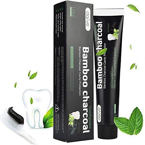 Aktivkohle Zahnpasta-Natürliche Zahnaufhellung und Zahnreinigung -Bambuskohle Schwarze Zahnpasta-Weisse Zähne-Bamboo Aktivkohle Zahncreme Weiß
