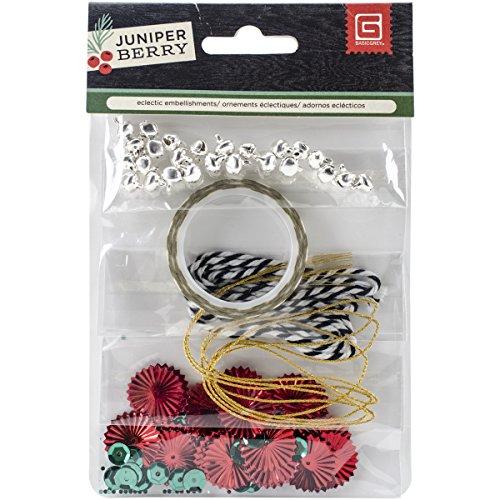 Basic grijze verschillende juniper Berry versiering pack-2yd binddraden, pailletten, klokken en washi tape.
