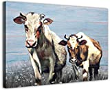 Cow Decor Farm Animals Canvas Cows Painting Blue Background Yellow Wall Decor Modern for Kitchen Bedroom Bathroom Decor Farmhouse Country Funny Wall Art(16''x20''x1pcs, Cute Cow)
