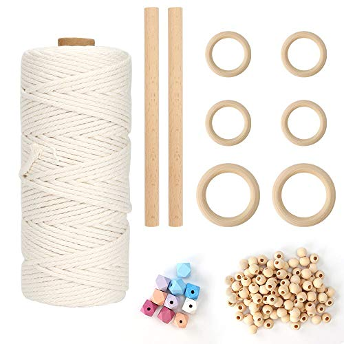 Intsun 3mm Natural Cotton Macrame Cord, 100 Pcs Unfinished Wood Beads+6 Pcs 2 Sizes Wood Rings+10 Pcs Color Octagonal Beads+2 Pcs Wood Sticks, for Wall Hanging, Plant Hangers, Crafts, Knitting