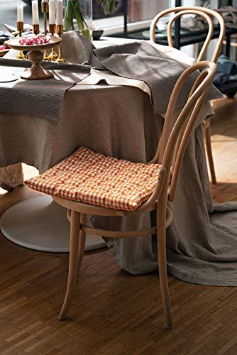 Linum OSBY Traditionell Sitzkissen Stuhlkissen für Stuhl Garten Küche Waschmaschinenfest, Cotton, Tief Aprikoseorange, 40 x 40 cm