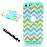 iPod Touch 6th Generation Case,Lantier 3 Layers Verge Hybrid Soft Silicone Hard Plastic TUFF Triple Quakeproof Drop Resistance Protective Case Cover with Stylus Color Waves/Mint Green