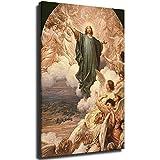 Póster católico Jesús religioso de la Ascensión en lienzo impreso Cristo cuadro modular para sala de estar Cartel en la pared Decoración del hogar Unframe-style1 30 x 45 cm