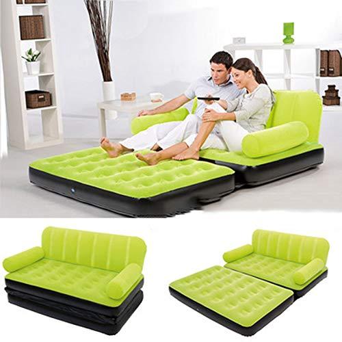 HMY Aufblasbares Sofa, Leder Schlafsofa Outddor Möbel Garten Sofa Schlafzimmer Bewegliches Weiches Bett Wohnmöbel,Grün