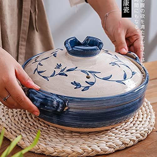 YiGanQiang Japonés Donabe Schmaufopf Hot Pot Casserole Forma, Pote Caliente Familiar, Cazuela de cerámica Aislante Redonda, Olla de Sopa para cocinar al Vapor, Olla de Cocina apilada Lentamente