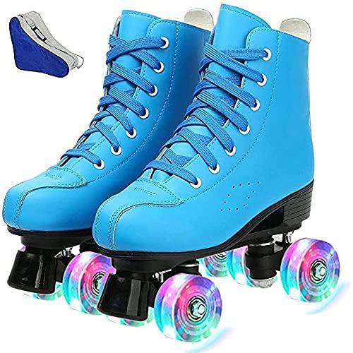 Damen Inline-Skates PU Leder High Top Roller Skates Vierrad Rollschuhe Glänzende Rollschuhe für Unisex Kinder und Erwachsene 41 25,5 cm US: 9 Blue + Flash.
