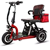 lytd Electric Wheelchair 3 Wheeled Mobility Scooter, Folding Electric Trikes, Double Electric Tricycle, Adjustable Seat, Safe and Comfortable, Suitable For The Elderly and the Disabled 48V/20AH/55KM