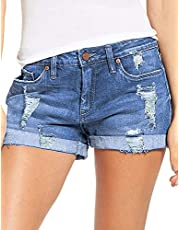 luvamia Women's Ripped Denim Jean Shorts High Waisted Stretchy Folded Hem Short Jeans