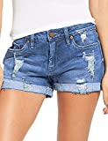 luvamia Women's Ripped Denim Jean Shorts Mid Rise Stretchy Folded Hem Short Jeans Blue Size Small