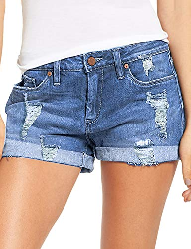 luvamia Women's Ripped Denim Jean Shorts Mid Rise Stretchy Folded Hem Short Jeans Blue Size Large