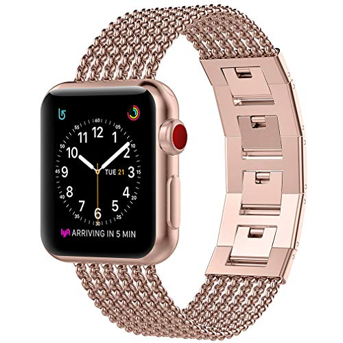 Glebo Compatible for Apple Watch Band 38mm Series 3, Stainless Steel Metal iWatch Band Womens Bracelet Accessories Fashion Stylish Dressy Straps for Apple Watch Band 40mm Series 4 5, Series 3/4/5 Gold