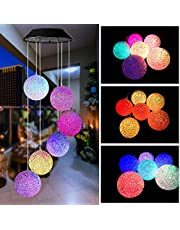 Wind Chime, BINWO Solar Wind Chimes Spiral Spinner Crystal Ball Wind Mobile Waterproof Outdoor Decorative Hanging Wind Bell Color Changing Light for Mum Gift or Patio Yard Garden Home Decoration