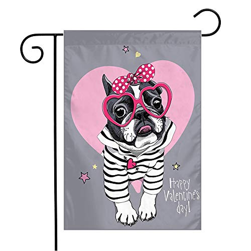 Garden Flag Yard Decorations Festive Valentines Template Carnival Day French Bulldog Striped Animals Wildlife Romantic Glasses Outdoor Small Polyester Flag Double Sided 12' x 18'