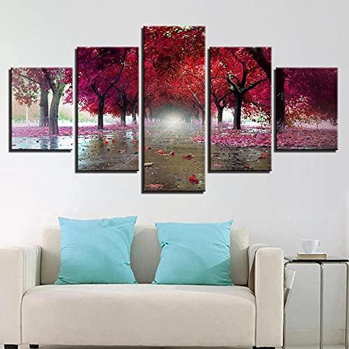 QQWER HD Impreso Modern Lienzo Pintura Arte Pared 5 Pinturas Salón Hogar Decoraciónpaisaje De Árbol De Hojas Rojas Modular Poster Sin Marco Pictures Decor