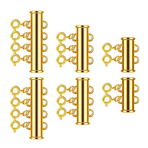 Gldbird 6 Pieces Layered Necklace Spacer Clasps, Slide Clasp Lock Necklace Connector, Multi Strands Slide Tube Clasps for Jewelry Making (Gold)