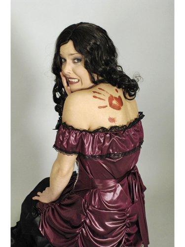 KÖRNER Festartikelimport GmbH Blutige Halloween-Tattoos Horrormotive blutige Lippen Rasierklinge 4er-Set rot-grau Einheitsgröße