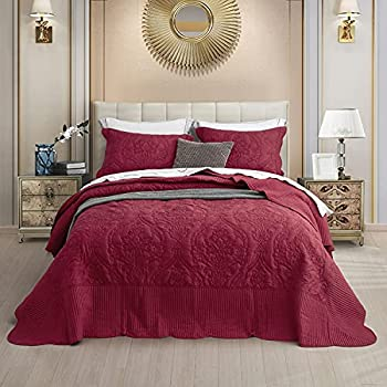 CHIXIN Oversized Bedspread Coverlet Set Burgundy Red - Queen Size Lightweight Thin Comforter Bedding Cover - 4 Piece Reversible Bedspread Set for All Season - Embossed Floral Solid Pattern