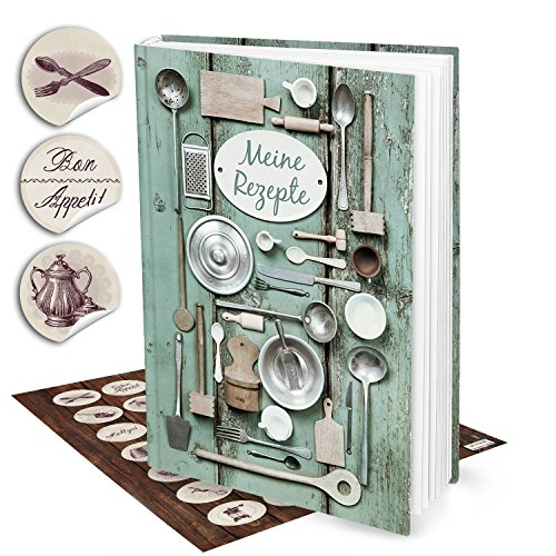 Cadeauset XXL receptenboek kookboek om zelf te schrijven, groen zilver oud DIN A4 + 35 nostalgische keuken-stickers HardCOVER Mijn recepten verzamelen lievelingsrecepten boek om te aangetekend