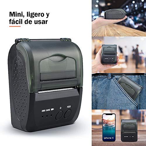 MUNBYN Impresora de Etiqueta Térmica Portáctil, Mini Tiketera de Recibos Inalámbrica Impresora de Tickets Bluetooth 4.0/ USB, Comando ESC/POS Compatible con Android/Windows/iOS