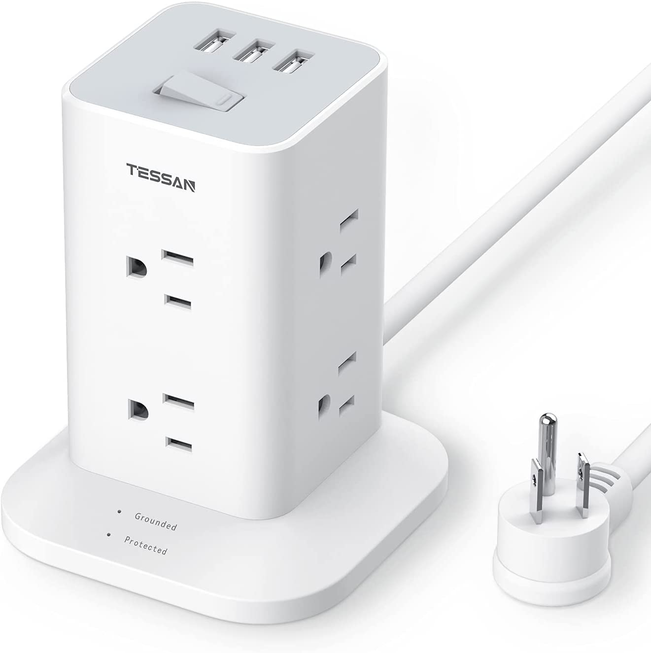 TESSAN Power Strip High quality Tower Surge Protector Outlets New Free Shipping Spaced Wide a 8
