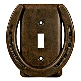 Western Rivers Products - River's Edge Products Electrical Cover Plate Switch Single - Horse Shoe, Fits 1 Standard Light Switches, Screws Included