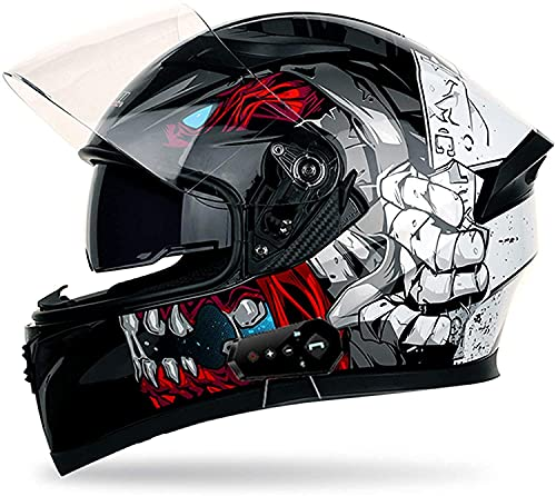 NZGMA Casco abatible para Motocicleta, antirreflejos, abatible hacia Arriba, visores Dobles, Cascos modulares con Bluetooth, de Cara Completa, comunicación incorporada, Radio FM para Hombres y m