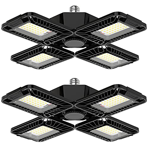 LED Garage Lights 2 Pack - 80W 8000LM Deformable Garage Lights Ceiling LED Shop Light with 4 Ultra Bright Adjustable Panels, E26/E27 Base, 6500K Garage Light for Garage, Workshop, Basement