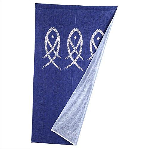 Cortina de Puerta Japonesa Noren Estampada de Dibujo Peces, Cortina de Cocina Tapiz índigo Cortinas de Dormitorio y Baño, Azul, 150 x 85 cm