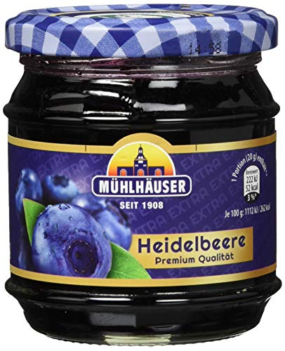 Mühlhäuser Heidelbeer Konfitüre Extra, 5er Pack (5 x 225 g)