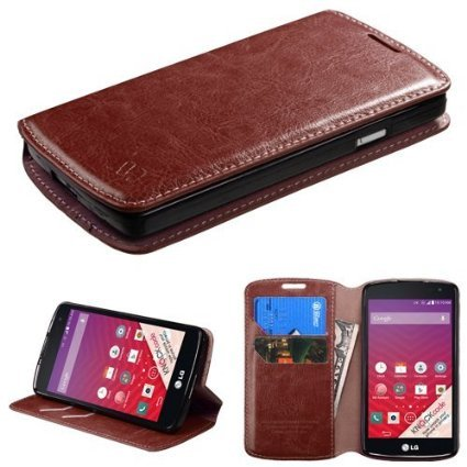 Galaxy Wireless Compatible for ZTE Sonata 2 / Zephyr Z752C / Paragon Z753G Case- Leather Folio Flip Book Wallet Pouch Case with Fold Up Kickstand and Detachable Wrist Strap (Brown Slim Wallet)