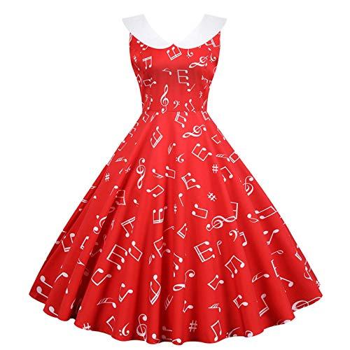 TOFOTL Damen Ballkleider Sommerkleid Einfarbig Kleider Rockabilly Kleid Cocktailkleider Lässiges ärmelloses Taillenkleid mit Retro-O-Ausschnitt und Retro-Print(A-rot,XL)