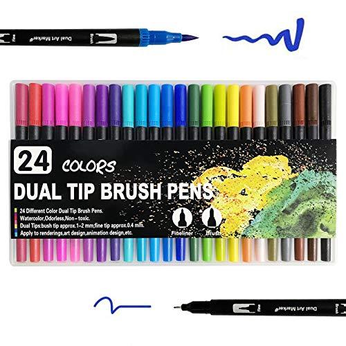 Filzstifte Pinselstifte Set, Filzstifte 24 Farben Dual Tip Brush Pens, Doppelfasermaler 1-2 mm Fasermaler und 0,4 mm Fineliner, Malstifte mit zwei Spitze für Malbücher, fürs Zeichnen, Malen