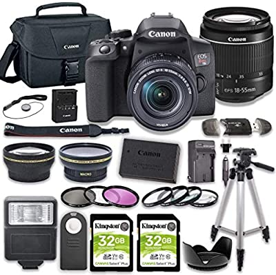 Canon EOS Rebel T8i DSLR Camera Bundle with 18-55mm STM Lens + 2pc Kingston 32GB Memory Cards + Accessory Kit by Canon Intl.