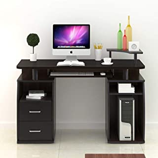 Mecor Black Wood Computer Desk, PC Laptop Workstation Table w/Storage Drawer, Keyboard Tray, Monitor Stand and Printer Shelf for Office Home