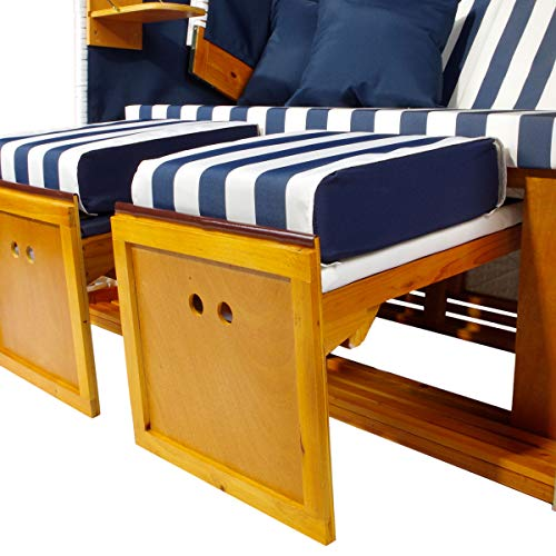 BRAST Strandkorb Nordsee XXL Volllieger Blau Weiß gestreift incl. Schutzhülle 2 Sitzer 120cm breit Gartenliege Sonneninsel Poly-Rattan - 4