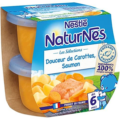 NESTLE NATURNES Les Sélections Petits Pots Bébé Douceur de carottes, Saumon -2x200g -Dès 6 mois