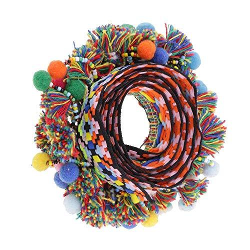 Uteruik Pompom-Pom-Pom-Pom-Perlen-Quasten, Zopfband, Jacquard-Band, Näh-Bordüre für Dekoration, mehrfarbig, 60 mm, 91 cm
