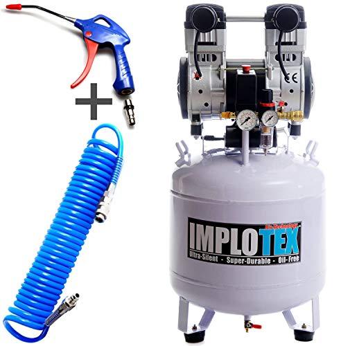 Silent fluistercompressor, persluchtcompressor, 60 dB, stil, olievrije compressor incl. blaaspistool en persluchtslang IMPLOTEX