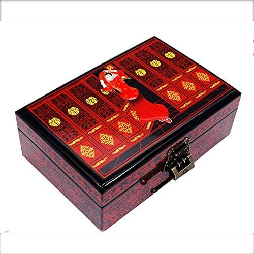 shixiaodan Caja Joyero Chino,Joyas Madera Almacenamiento de Empuje Caja luz Laca Puro Hecho a Mano joyería Caja de Madera Artesanías de Laca