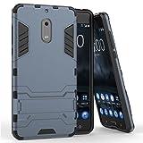 MaiJin Funda para Nokia 6 (5,5 Pulgadas) 2 en 1 Híbrida Rugged Armor Case Choque Absorción Protección Dual Layer Bumper Carcasa con Pata de Cabra (Azul Negro)