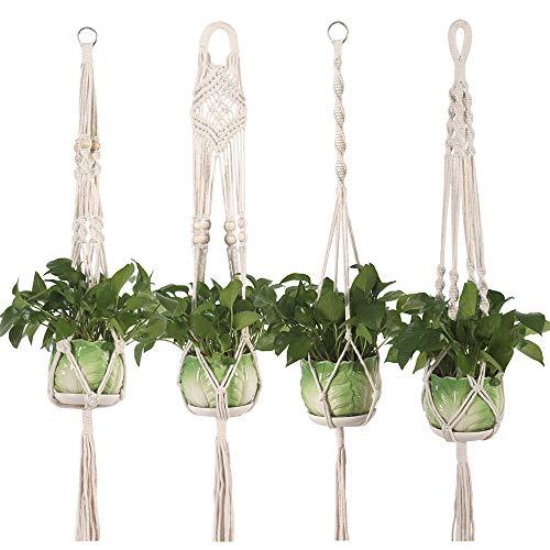 Yibaision Makramee pflanzenhänger Blumenampel Baumwollseil hängende Pflanzen Halter hängende Pflanzer Blumentopf Korb hängen Seil mit Perlen Boho Innen Außen Decken Balkone Wanddekoration, 4er Set
