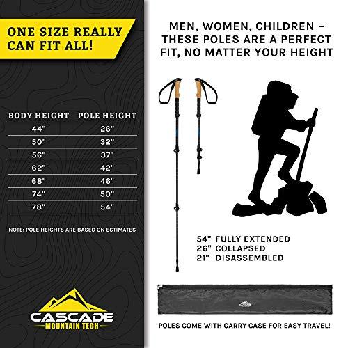 Cascade Mountain Tech Trekking Poles - 3K Carbon Fiber Walking or Hiking Sticks with Quick Adjustable Locks (Set of 2) , Black