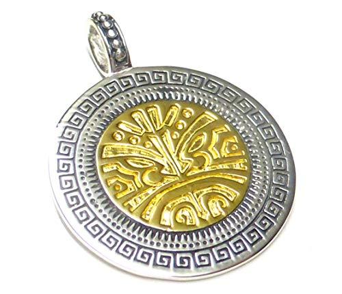 Anhänger Silber vergoldet , Maori Schutzsymbol , aus 925 Sterlingsilber massiv gearbeitet , Geschenk, Schmuck, Unisex