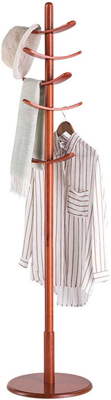 Standing Coat Racks Coat Rack Floor Wooden Clothes Rack Bedroom Multi-Hook Hanger redatable Coat Storage Rack 10 Hook -0223 (color   Brown)