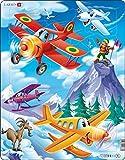 Larsen US12 Happy Planes Racing en Las Montañas Nieves, Puzzle de Marco con 20 Piezas