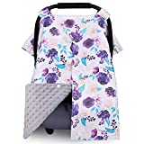 Minky Car Seat Canopy for Girls Boys, Metplus Multiuse Cover for Infant Carseat/Baby Carrier/Stroller/Nursing Breastfeeding/Newborn Shower Gift, Universal Fit with Peekaboo Opening, Purple Floral
