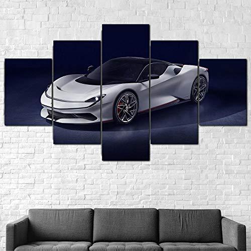 MTRSLH Cuadro En Lienzo,Imagen Impresión,Pintura Decoración, Cuadro Moderno En Lienzo 5 Piezas,Pininfarina Battista Super Car,Murales Pared Hogar Decor XL 100x55cm